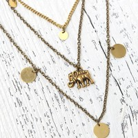 Me To We Elephant Layered Short Necklace - Womens Jewelry - Gold - One