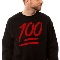 The Keep It 100 Emoticon Crewneck Sweatshirt in Black