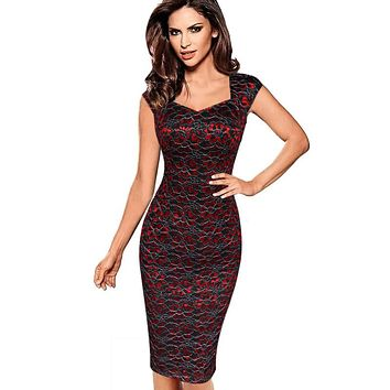 Womens Sexy Elegant Summer Floral Flower Lace Cap Sleeve Slim Casual Party Fitted Sheath Bodycon Dress 404