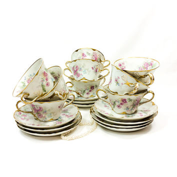 Haviland Limoges Boullion Cup and Saucer, Set of 9, Pink & White Roses, Beaded or Jeweled Enamel, Limoges Tea Cups, 1894-1932, Antique