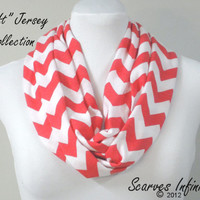 Chevron Scarf, Coral Infinity Scarf , Circle Scarves, Loop Scarf by Scarves Infinity