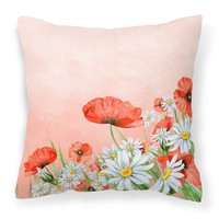 Poppies and Chamomiles Fabric Decorative Pillow BB7448PW1818