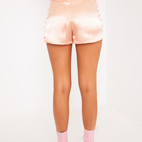 Noreen Peach Silk Button Detail PJ Style Shorts