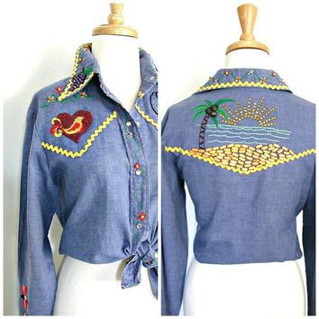 1970s Western Shirt / 70s shirt / womens levis shirt  / chambray blouse / rockabilly shirt / cowgirl /  medium large