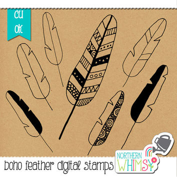 Tribal Feather Clip Art - Boho feather digital stamps - hand drawn feather doodle illustrations - digital scrapbooking - commercial use