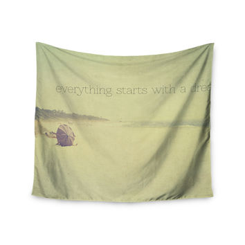 """Ingrid Beddoes """"Everything Starts With A Dream"""" Beach Quote Wall Tapestry"""