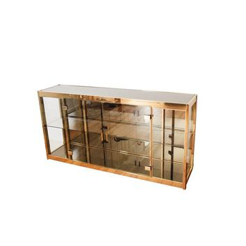Pre-owned Lighted Brass, Glass & Mirror Credenza