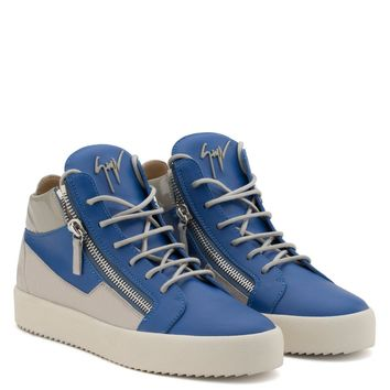 Giuseppe Zanotti Gz Kriss Blue Calfskin Leather Mid-top Sneaker With Grey Inserts