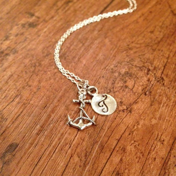 Anchor initial necklace