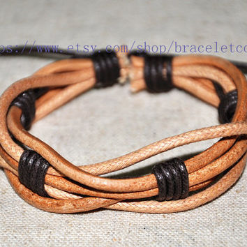 Real Leather Cotton Ropes Woven Men Leather Jewelry Bangle Cuff Bracelet Women Leather Bracelet  CP57