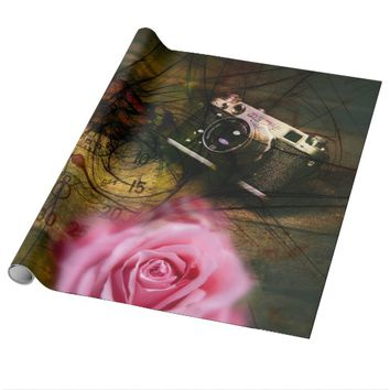 Unique vintage camera, clock and flower wrapping paper