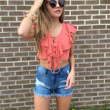 Cross Lace Crop Top 10032