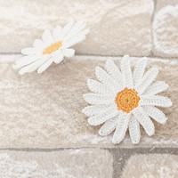 Daisy Post Earrings Crochet Lace in White and Yellow Boho Chic Lightweight Flower Doily