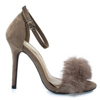 Rubina53 Taupe By Forever Link, Fluffy Feather Furry Strap High Heel Open Toe Sandal