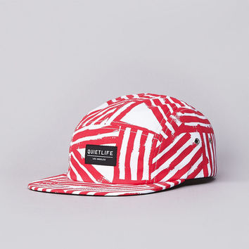 The Quiet Life Painted Stripes 5 Panel Cap White / Red