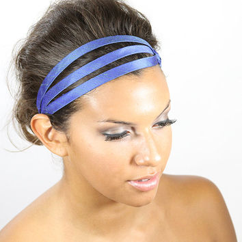 Blue headband silk headband head wrap hairband