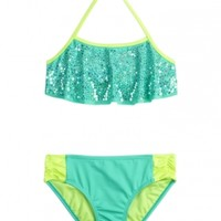 Sequin Flounce Bikini Swimsuit