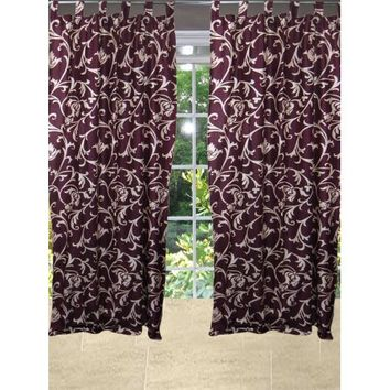 Mogul Printed Curtain Panels Maroon Window Drapes For Home Decoration (84x48) - Walmart.com
