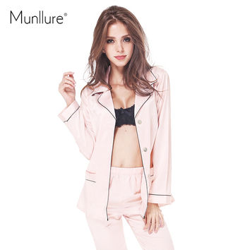 Munllure Autumn sexy underwear sexy faux silk comfortable stand collar long-sleeve sleepwear lounge twinset