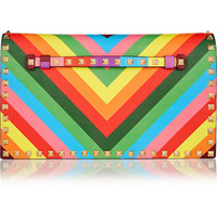 Valentino | The Rockstud printed leather clutch | NET-A-PORTER.COM