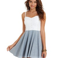 Urban Hearts Juniors Dress, Sleeveless Eyelet Chambray Skater - Juniors Dresses - Macy's