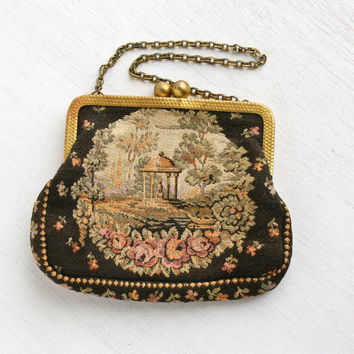 Vintage Needlepoint Point Flower Purse - 1940s Black Small Evening Bag with Floral Design, Brass Chain Handbag / Rose Garden