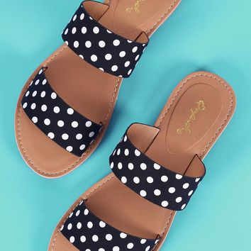 Qupid Printed Double Band Slide Flat Sandals