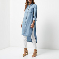 Light blue wash longline denim shirt - shirts - tops - women