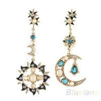 New Style Fashion Star Sun Moon Rhinestone Crystal Stud Dangle Pretty Earrings