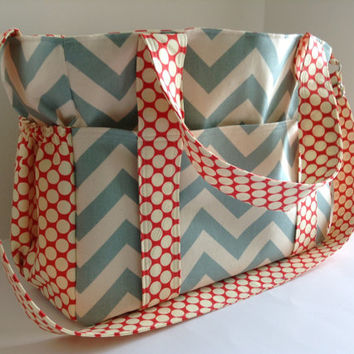 Extra Large Diaper bag Made of Summerland Blue Chevron with Red Full Moon Polka Dot
