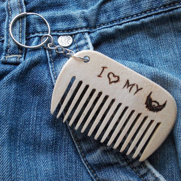 Custom Beard Comb, i love my beard, wood pocket comb, Keychain, wooden comb, engraved comb, Wood Burning, Dad Gift, Fathers day gift