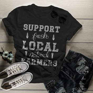 Women's Hipster Support Local Farmers T-Shirt Vintage Farming Shirt