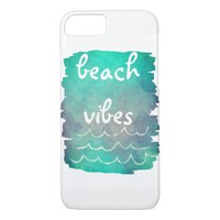 beach vibes text on blue abstract art iPhone 7 case