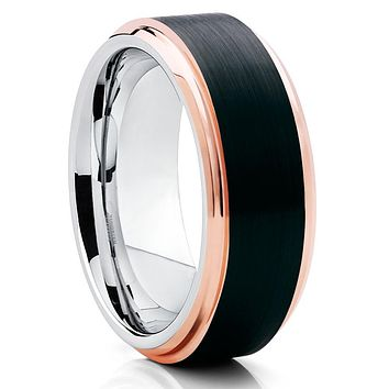 Men's Tungsten Wedding Band - Rose Gold - Rose Gold Tungsten Band