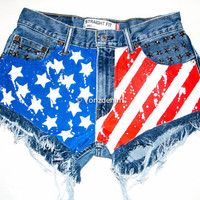 American Flag Shorts, Hand Painted American Flag Shorts, Vintage High Waisted Denim Shorts, Studded Shorts, Levi, Wrangler, Lee, Guess, etc.