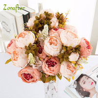 Silk Peony Flower Artificial Flowers Imitation European Fall Vivid Peony Fake Leaf Wedding Bride Bouquet Home Party Decoration
