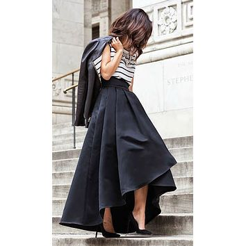 New Fashion Women High Waist Flared Pleated Asymmetric Skirt Maxi Long Skirts Stylish Elegant Formal Skirts Solid Color