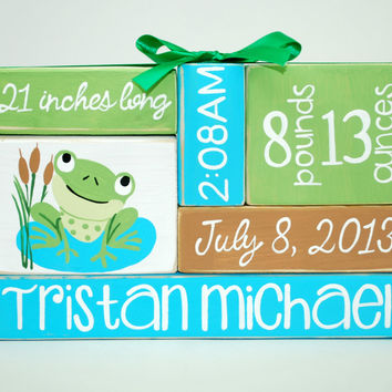 Custom Baby Birth Stats Frog Nursery WoodenBlock Shelf Sitter Stack