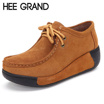 HEE GRAND 2017 Women Boots Autumn Lace-Up Ankle Boots Casual Platform Shoes Woman Suede Creepers Fashion Ladies Wedges XWD2683