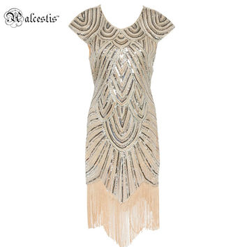 Alcestis Shining 1920's Style Flapper Dress Vintage Great Gatsby Charleston Sequin Tassel Party Costume Sexy Night Dresses