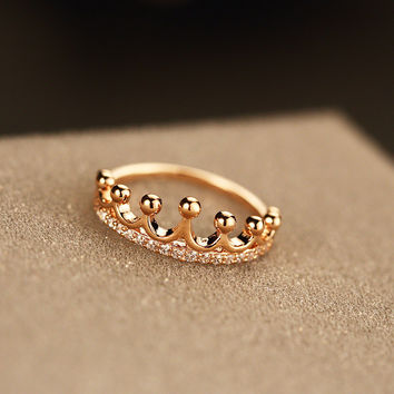 Stylish Jewelry New Arrival Shiny Gift Simple Design Crown Ring [11045346196]