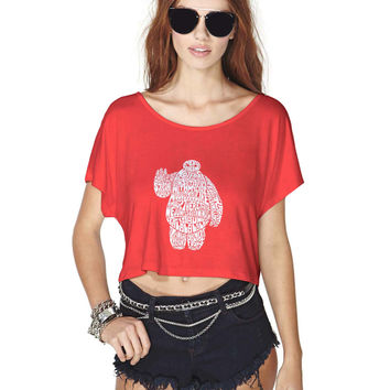 Big Hero 6 Inspired Baymax Typo Crop Shirt , Custom Crop Shirt , Woman Crop Shirt