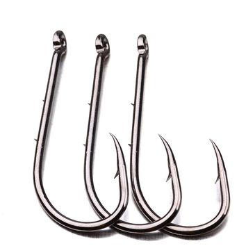 100pcs 92247 High Carbon Steel Fishing Hooks Black Offset Long Barbed Shank Fishhook Baitholder Bait Hook Size 4#-6/0#
