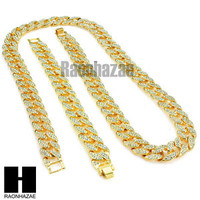 "Iced Out Hip Hop Mens 14k Gold Finish 16mm 30"", 36"" Cuban Link Chain Bracelet"
