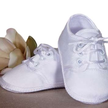 Oxford Bootie Baby Boys Dress Shoes White Matte Satin 0-9M
