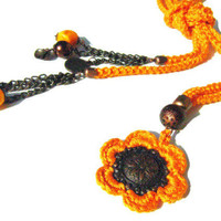 Gift set. OOAK..Orange cotton yarn Crochet cord and copper flower pendant  and bracelet. Gift, christmas, unique.