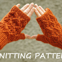 Lace fingerless mittens knitting pattern, women mitts knitting pattern, instant download knitting pattern, wrist warmer knitting pattern