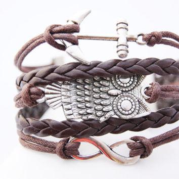 5 Strand Brown Antique Vintage Owl Infinity Anchor Faux Leather Braid Cord Bracelet (Adjustable Sizing)
