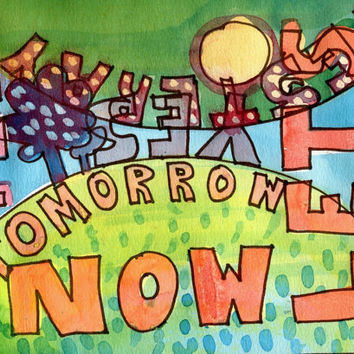 YESTERDAY TOMORROW NOW 1 - Original Watercolour - Fine Art Painting - Modern Art - Abstract Painting - Typography
