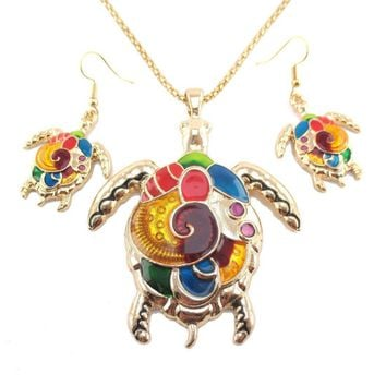 Colorful Enamel Sea Turtle Dangle Earrings and Necklace 2 Piece Set in Gold